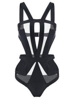 Cut Out Mesh Panel Swimsuit - Black S