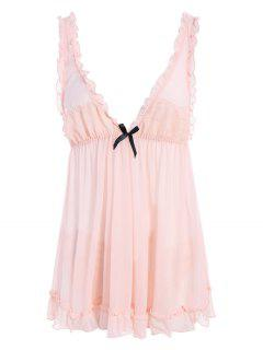 See-Through Lace Babydoll With Lace Panties - Pink