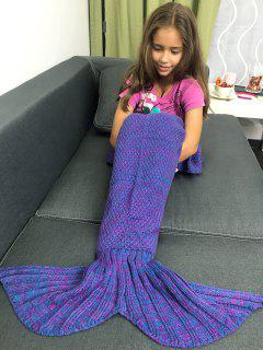 Knitted Sleeping Bags Mermaid Tail Blanket - Bluish Violet
