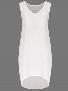 White V Neck Sleeveless Dress - White M