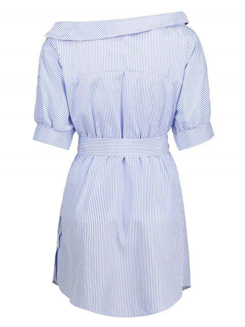 latest Striped Asymmetric Neckline Belted Dress - BLUE AND WHITE L Mobile