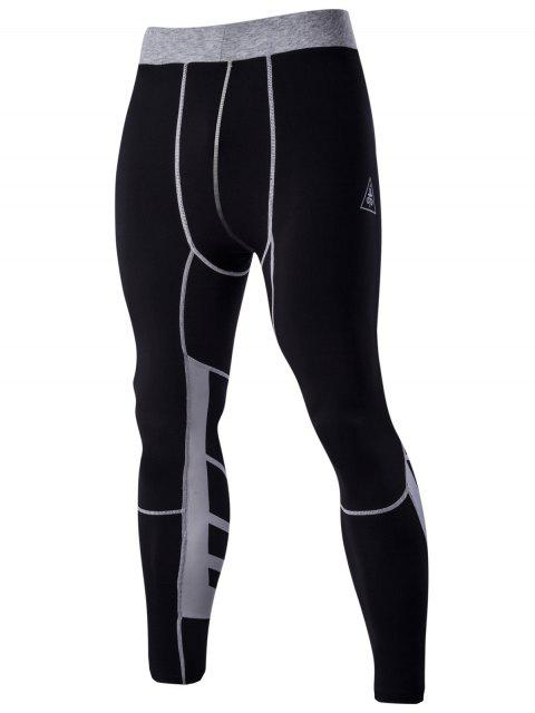 Farbblock-elastische Taillen-Sport-Hosen für Männer - Schwarz 2XL Mobile