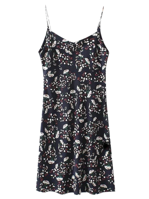 unique Mini Low Back Floral Slip Dress - CADETBLUE S Mobile