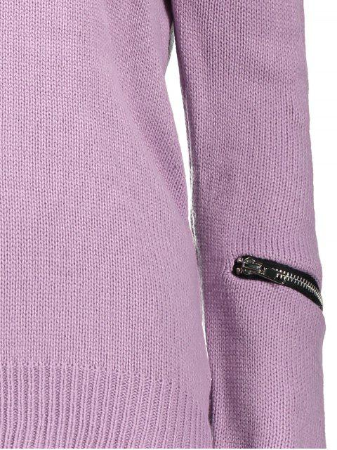 unique Pullover Zipper V Neck Sweater - PINK XL Mobile