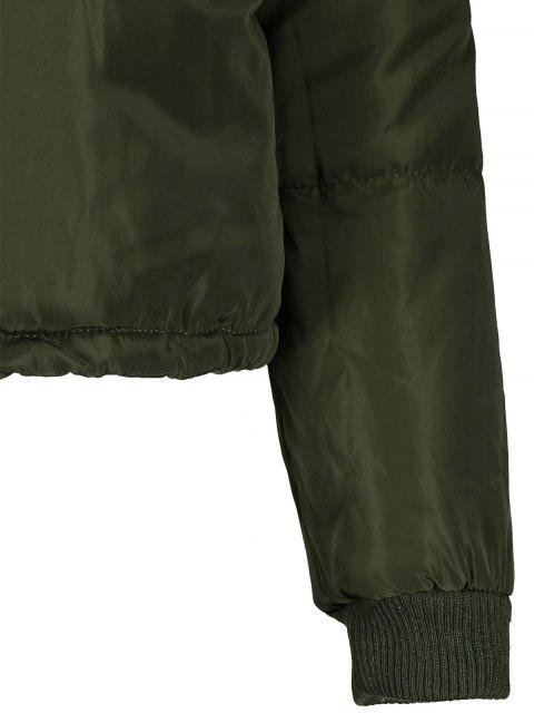 affordable Borg Collar Quilted Puffer Jacket - ARMY GREEN L Mobile