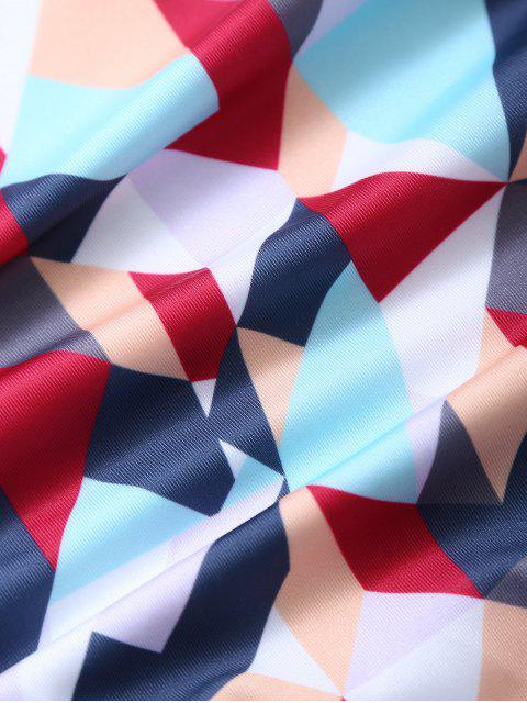 hot High Waisted Geometric Print Bikini - COLORMIX L Mobile