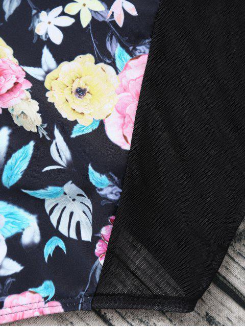 unique Floral Low Cut Mesh Swimwear - BLACK L Mobile