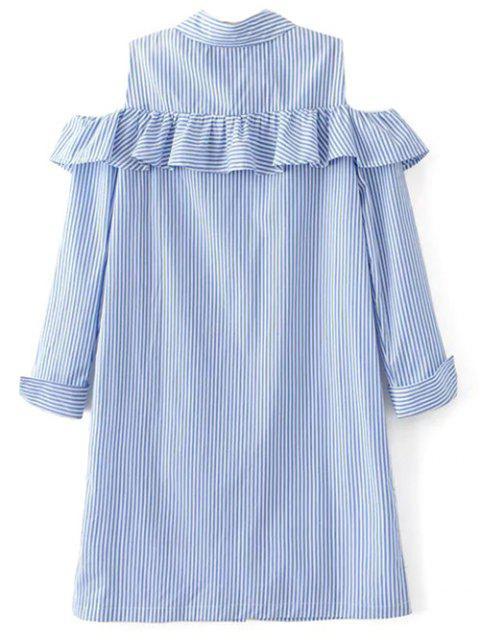 women Cold Shoulder Ruffle Striped Shirt - LIGHT BLUE M Mobile