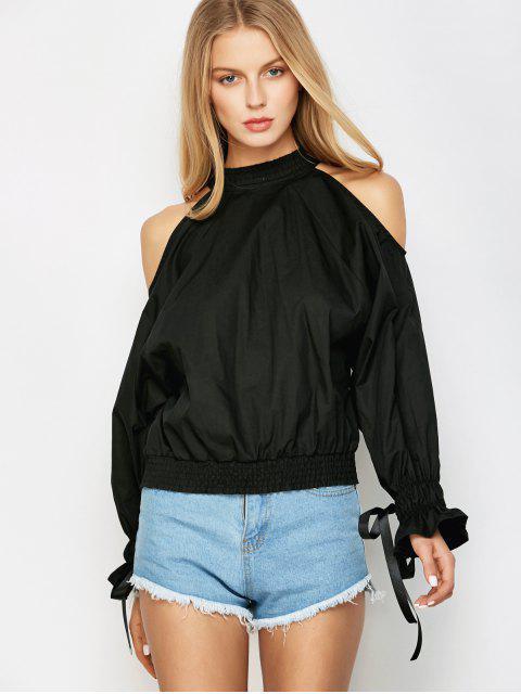 women Cold Shoulder Blouse - BLACK 2XL Mobile