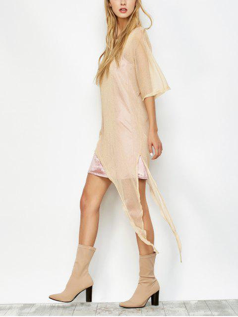 affordable Asymmetric See-Through Cover Up - GOLDEN L Mobile