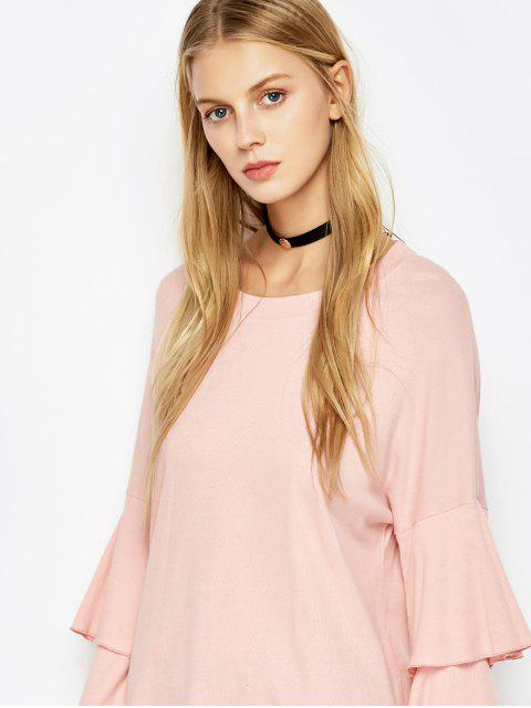 chic Multi-Layered Sleeve Knitwear - PINK M Mobile