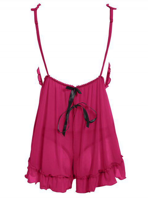 affordable See-Through Lace Babydoll With Lace Panties - ROSE RED ONE SIZE Mobile