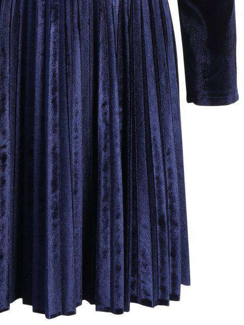 fancy Velvet Long Sleeve Choker Pleated Dress - PURPLISH BLUE L Mobile