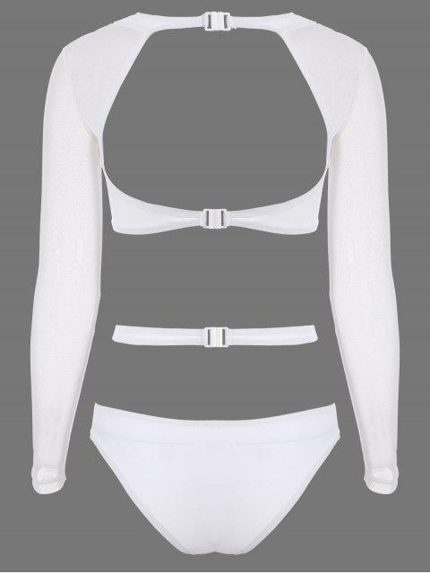 sale Long Sleeve Cutout High Rise Bathing Suit - WHITE M Mobile