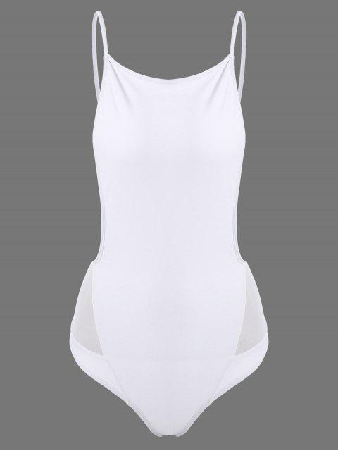 trendy One Piece Cami Swimsuit - WHITE S Mobile