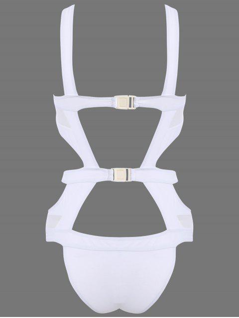 Découpez Out Mesh Panel Swimsuit - Blanc M Mobile