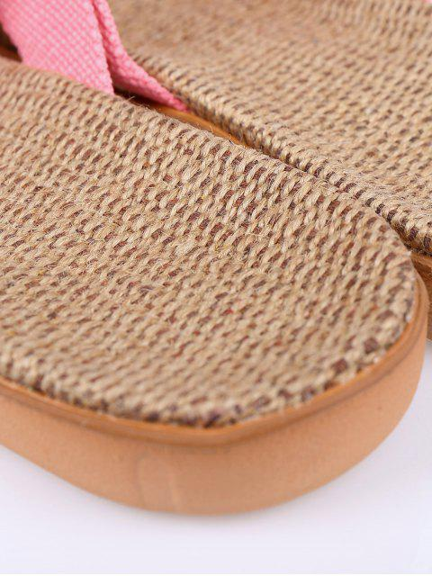 women's Linen Color Block Cross Straps Slippers - PINK SIZE(39-40) Mobile