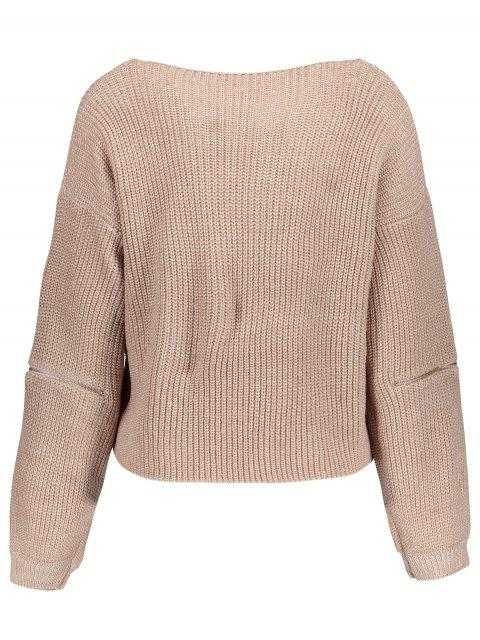 online V-Neck Zipper Sleeve Pullover Sweater - NUDE PINK ONE SIZE Mobile