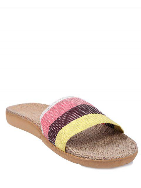 online Striped Color Block Linen House Slippers -   Mobile