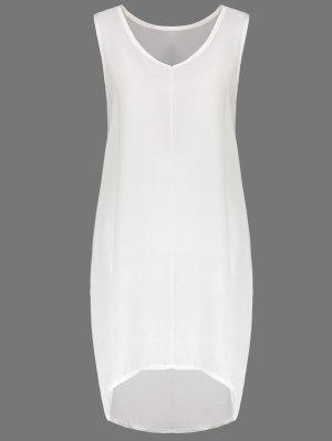 White V Neck Sleeveless Dress - White Xl