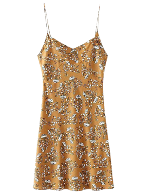 Vestido Mini Resbalón Floral De Espalda - Amarillo M