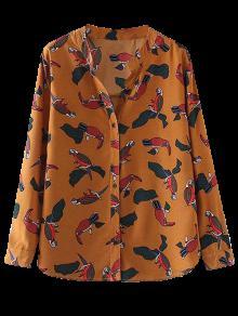 Birds Printed Stand Collar Shirt - Yellow Ocher S