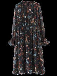 فستان شفاف بالطبع و الكم الطويل  - الأرجواني الأزرق L