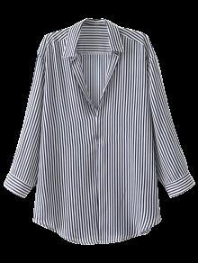 Pullover Oversized Striped Blouse - Stripe S