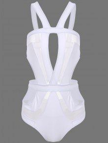 Découpez Out Mesh Panel Swimsuit - Blanc M