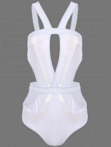 Découpez Out Mesh Panel Swimsuit - Blanc S