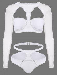 ملابس السباحة مع الفتحة العالية والكم الطويل - أبيض S