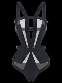 Cut Out Mesh Panel Swimsuit - Black L