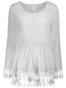 الدانتيل مزين فستان طويل الأكمام - أبيض Xl