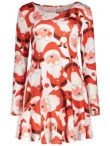 Christmas Print Long Sleeves Dress - Red M