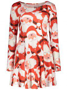 Christmas Print Long Sleeves Dress - Red L