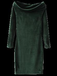 Terciopelo De Bodycon Del Vestido Del Hombro - Verde Oscuro M