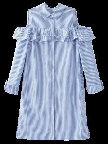 Cold Shoulder Ruffle Striped Shirt - Light Blue M