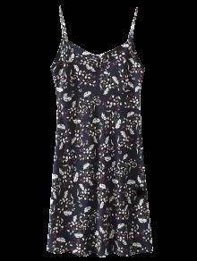 فستان  مصغر التمزيق و طبع الزهور بالمتن المنخفض  - Cadetblue رقم S