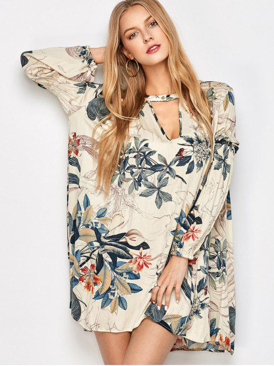 new Plant Print Choker Long Sleeve Tunic Dress - MULTICOLOR L