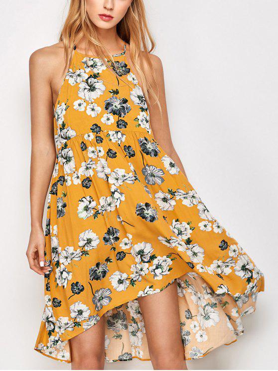 Mini Vestido de Oscilación de Bata de Flores sin Manga - Dorado M