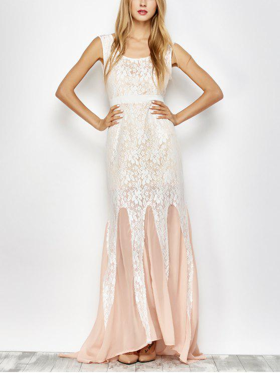 women's Chiffon Lace Maxi Mermaid Prom Dress - PINK AND WHITE XL