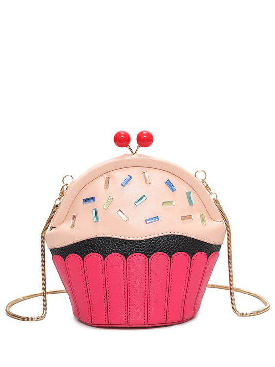 womens Novelty Cupcake Shaped Crossbody Bag - PINK