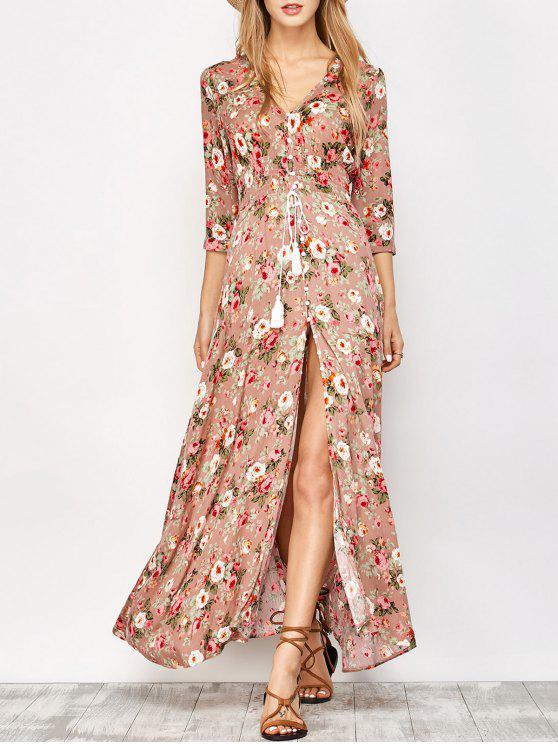 maxi Robe rose à motif  floral et  boutonnée avec fentes avant à manches longues à col V - Floral S