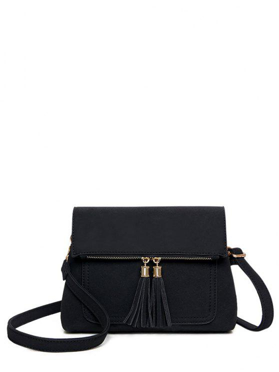 affordable Suede Tassel Crossbody Bag - BLACK