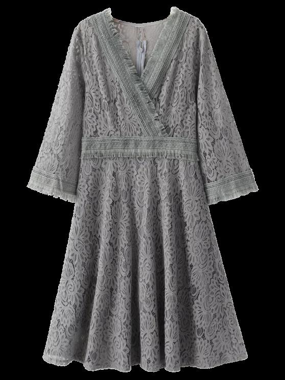 Vestito di pizzo Wrap Frange - Grigio M