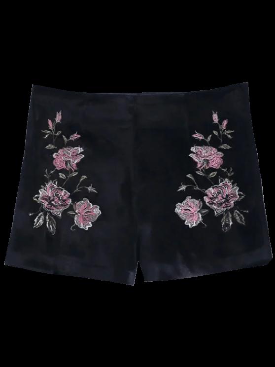 womens Floral Embroidered Velvet Shorts - BLACK M
