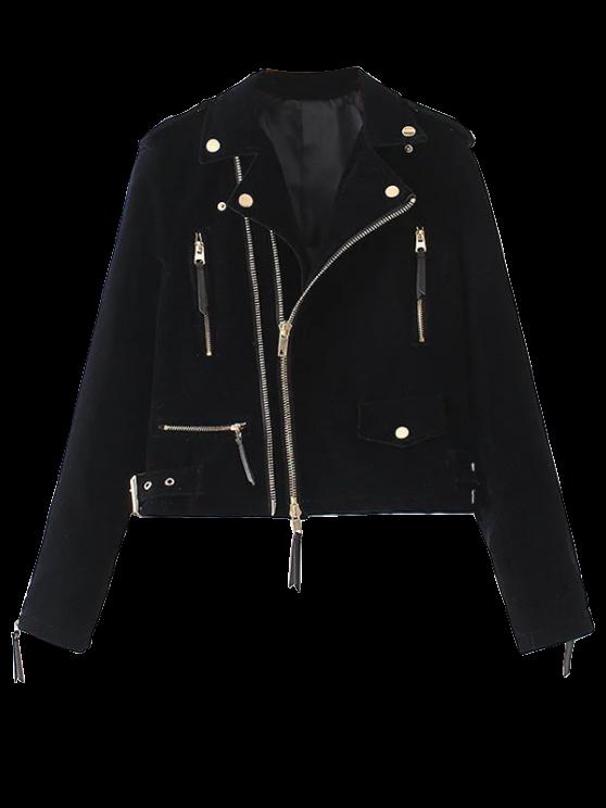 hot Lapel Velvet Biker Jacket - CADETBLUE S