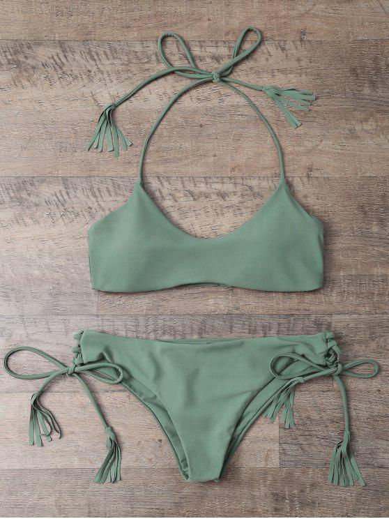 womens Tasselled Halter Bikini Set - ARMY GREEN L