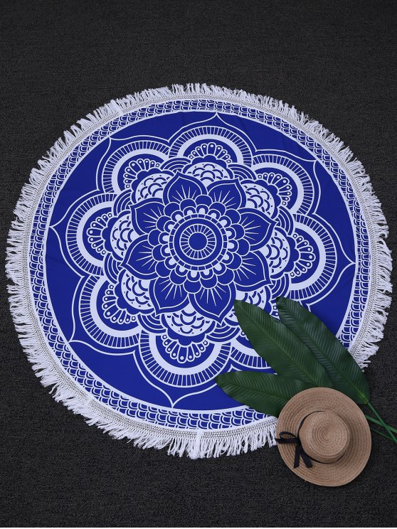 lady Tapestry Circle Mandala Beach Throw - BLUE AND WHITE ONE SIZE