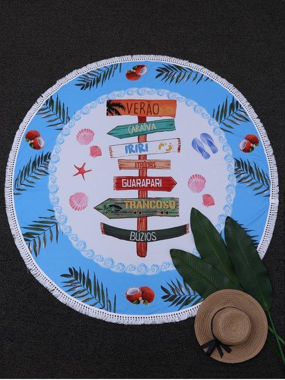 مناشف الشاطئ طباعة فينجربوست دائرة - ازرق وابيض حجم واحد